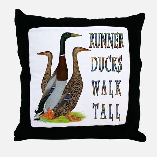 Runner Ducks Walk Tall Throw Pillow