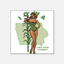 "Faded Iowa Pinup Square Sticker 3"" x 3"""