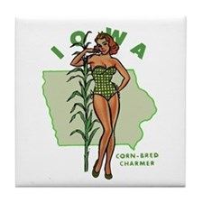 Faded Iowa Pinup Tile Coaster