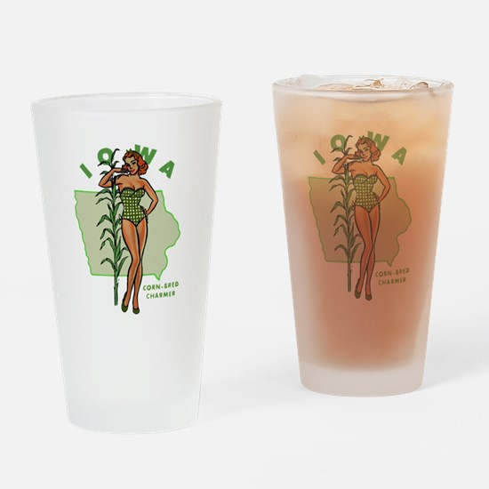 Faded Iowa Pinup Drinking Glass