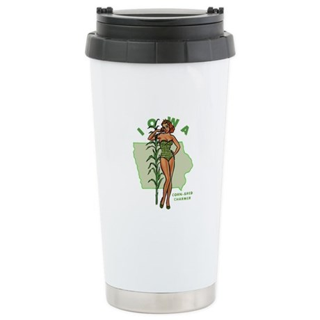 Faded Iowa Pinup Stainless Steel Travel Mug