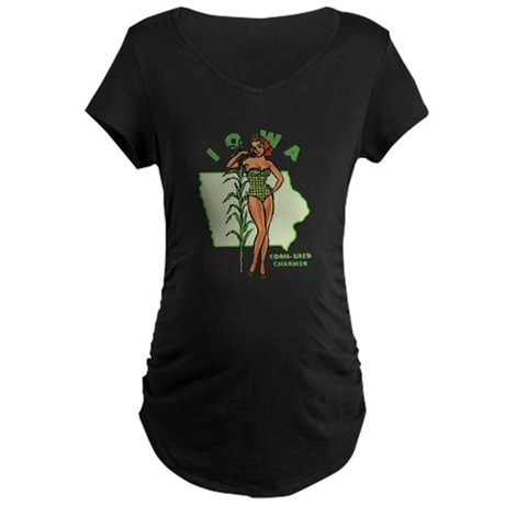 Faded Iowa Pinup Maternity Dark T-Shirt