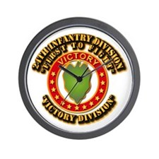 Army - 24th INF Div - DUI Wall Clock