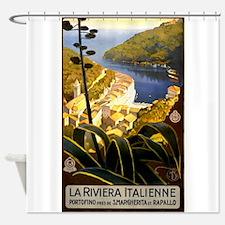 Antique 1920 Italian Riviera Travel Poster Shower
