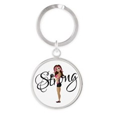 Strong Fit Girl Round Keychain