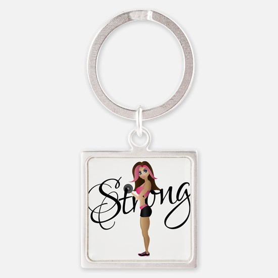 Strong Fit Girl Square Keychain