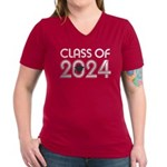 Class of 2024 Grad Women's V-Neck Dark T-Shirt