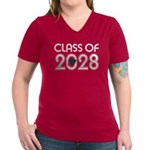 Class of 2028 Grad Women's V-Neck Dark T-Shirt