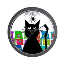 cat and spider shower curtain 5 Wall Clock
