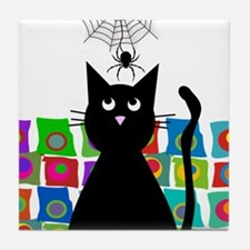 cat and spider shower curtain 5 Tile Coaster