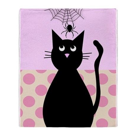 cat and spider shower curtain 4 Throw Blanket