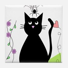 cat and spider shower curtain 3 Tile Coaster