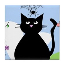 Whimsical Cat and Spider Tile Coaster