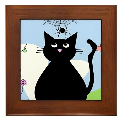 Whimsical Cat and Spider Framed Tile