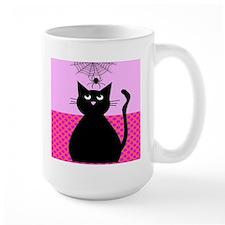 Whimsical Cat and Spider Mug