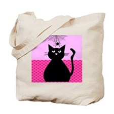 Whimsical Cat and Spider Tote Bag