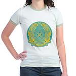 Kazakhstan Coat of Arms Jr. Ringer T-Shirt