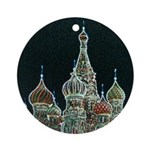 St Basils on Red Square Ornament (Round)