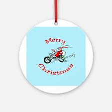 Motorcycle Santa Ornament (Round)