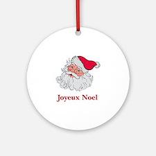 Santa Joyeux Noel Ornament (Round)