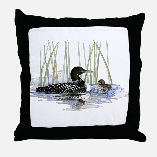 Loon and baby Throw Pillow