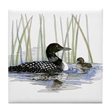 Loon and baby Tile Coaster