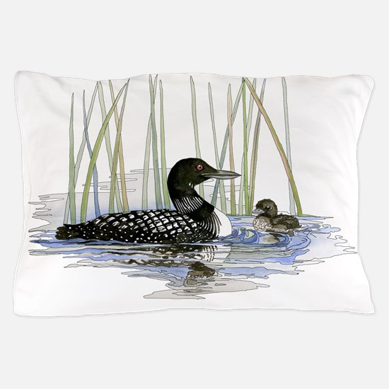 Loon and baby Pillow Case