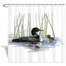 Loon and baby Shower Curtain
