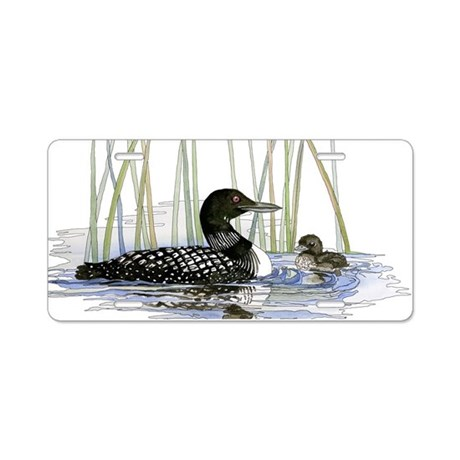 Loon and baby Aluminum License Plate