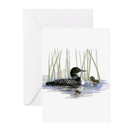 Loon and baby Greeting Cards (Pk of 10)