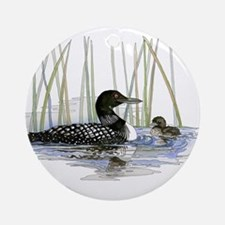 Loon and baby Ornament (Round)
