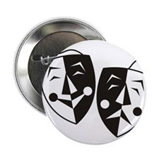 """Comedy and Tragedy Masks 2.25"""" Button"""