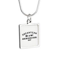 American Curl Cat Designs Silver Square Necklace