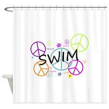 Swim Peace Signs Shower Curtain