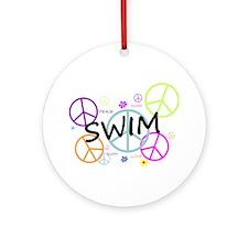 Swim Peace Signs Ornament (Round)