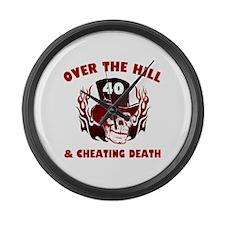 40th Birthday Cheating Death Large Wall Clock
