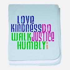 Love Kindness, Walk Gently, Do Justice baby blanke