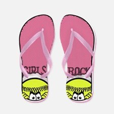 Girls Rock Softball Flip Flops