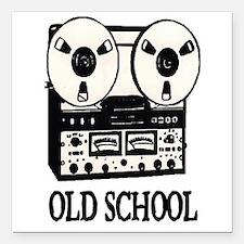 "OLD SCHOOL (TAPE DECK) Square Car Magnet 3"" x 3"""