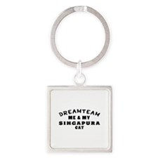 Singapura Cat Designs Square Keychain