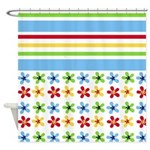 Colorful Flowers and Stripes Shower Curtain