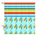 Rainbow Flowers and Stripes Shower Curtain