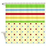 Colorful Stripes and Polka Dots Shower Curtain