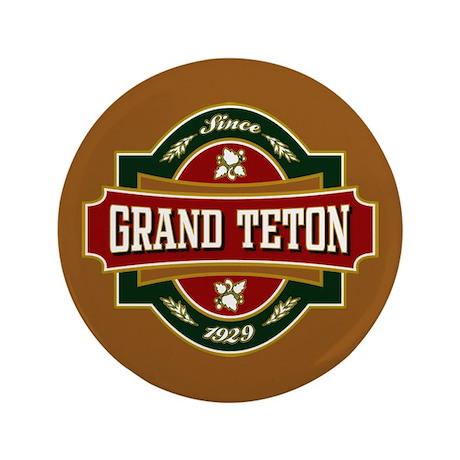 "Grand Teton Old Label 3.5"" Button"