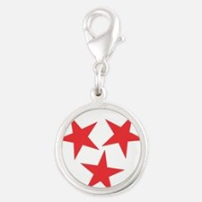 Tennessee Red Silver Round Charm