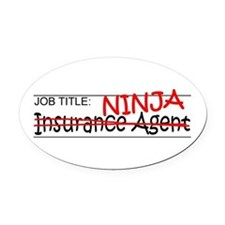 Job Ninja Insurance Oval Car Magnet