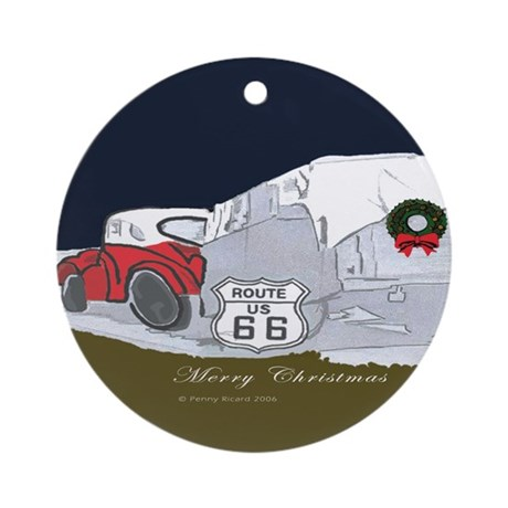 Route 66 Christmas Ornament (Round)