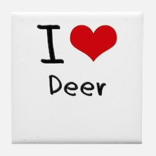 I Love Deer Tile Coaster