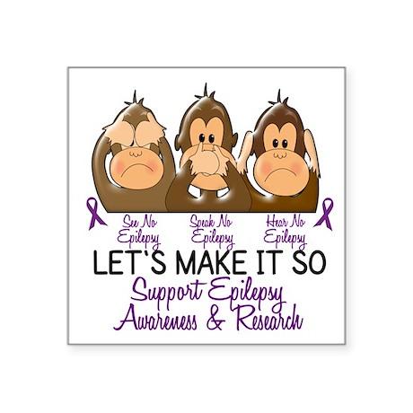 See Speak Hear No Epilepsy 2 Oval Sticker