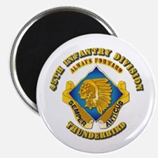 """Army - 45th Infantry Division - DUI 2.25"""" Magnet ("""